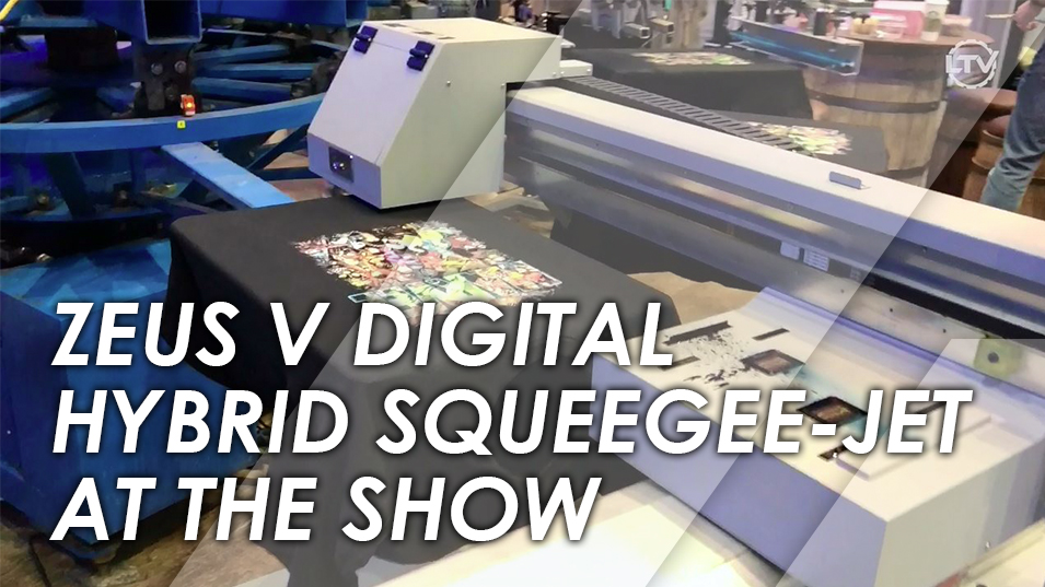 Zeus V Digital Hybrid Squeegee-Jet - Printing with a M&R Screen Press